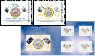 Collector Prestige IDT Virage de Mulsanne Welcome on the track 2013 tirage autoadhésif - bloc 4 timbres TVP 20g - lettre prioritaire