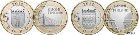Lot de 2 commemoratives 5 euros Finlande 2012 UNC - Architecture